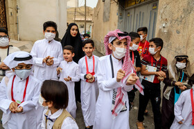 The Gargee'an celebration in Khuzestan, Iran, April 28, 2021. It takes place on the 15th night of the Islamic month of Sha'ban and on the 15th night of Ramadan. Gargee'an is marked with children dressing in traditional attire and going door-to-door to receive sweets and nuts from neighbours.