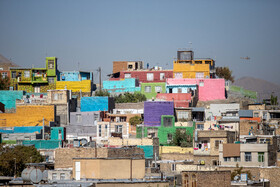 Colorful houses are seen in the photo, Arak, Iran, October 19, 2020.