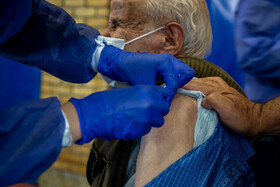 The COVID-19 vaccination of people aged over 85 in Markazi, Iran, April 28, 2021.
