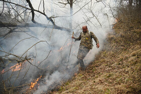 A fire burns the forests of Neka county, Mazandaran, Iran, January 15, 2021. Five hectares of the forests of Neka county have been burned by the fire thus far.
