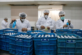 The production of hand sanitizers in Qazvin, Iran, February 28, 2020.