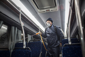 Public transportation is disinfected in order to curb the spread of the novel coronavirus, Qazvin, Iran, February 28, 2020.