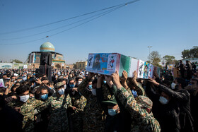The funeral of Zakria Shiri, who was martyred in Syria, is held in Qazvin, Iran, October 17, 2020.