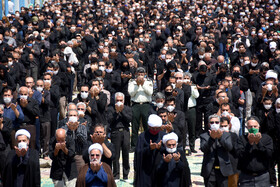 Mourners of Imam Hussain offer the noon prayer of Ashura Day, Semnan, Iran, August 30, 2020.