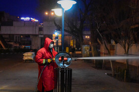 Public places are disinfected in order to curb the spread of the novel coronavirus, Tabriz, Iran, February 28, 2020.
