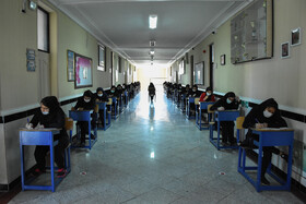 End-of-year exam of high school students in Tabriz, Iran, June 7, 2020. In order to curb the spread of the new coronavirus, all schools and classrooms are disinfected before and after each exam.