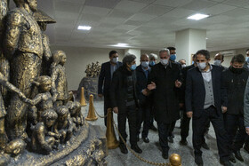 The opening ceremony of Heydar Baba Art Gallery containing the artworks of Iranian sculptor Ahad Hosseini, Tabriz, Iran, March 14, 2021.