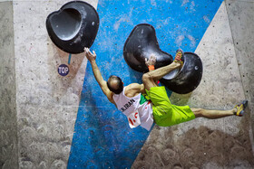 A bouldering competition is held in Zanjan, Iran, October 21, 2020.